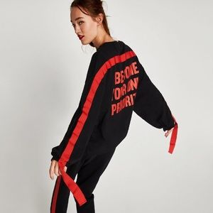 ZARA PULLOVER WITH RED TRIM TAPE